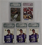 Collection of 5 Graded Rookie Football Cards w/Peyton Manning