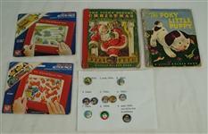 The Night Before Christmas Book & Vintage Pinback Button Collection