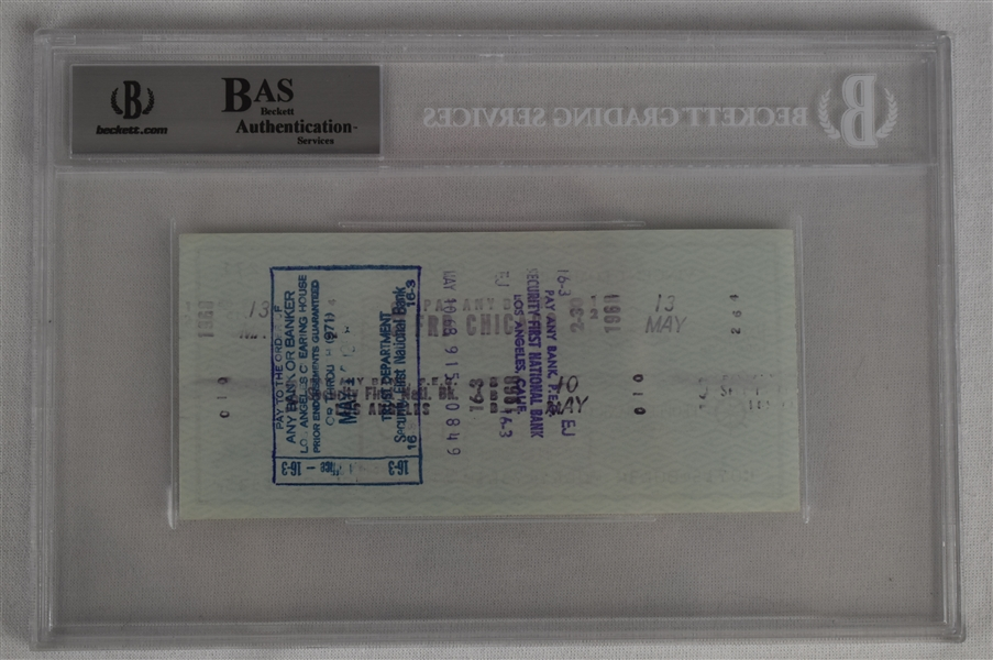Vince Lombardi Signed 1968 Personal Check #271 BGS Authentic