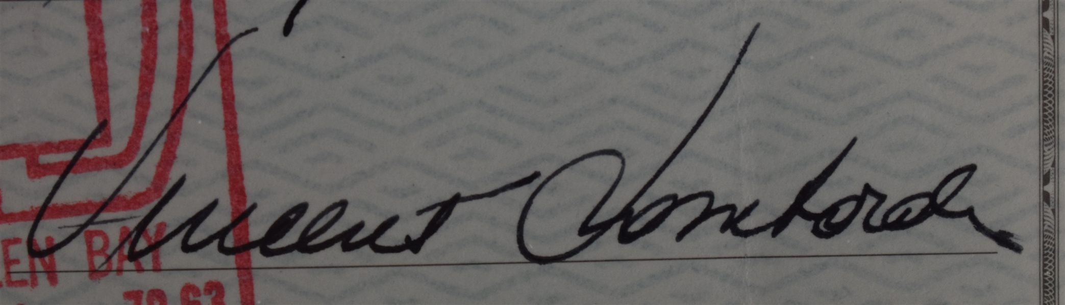 Vince Lombardi Signed 1968 Personal Check #242 BGS Authentic