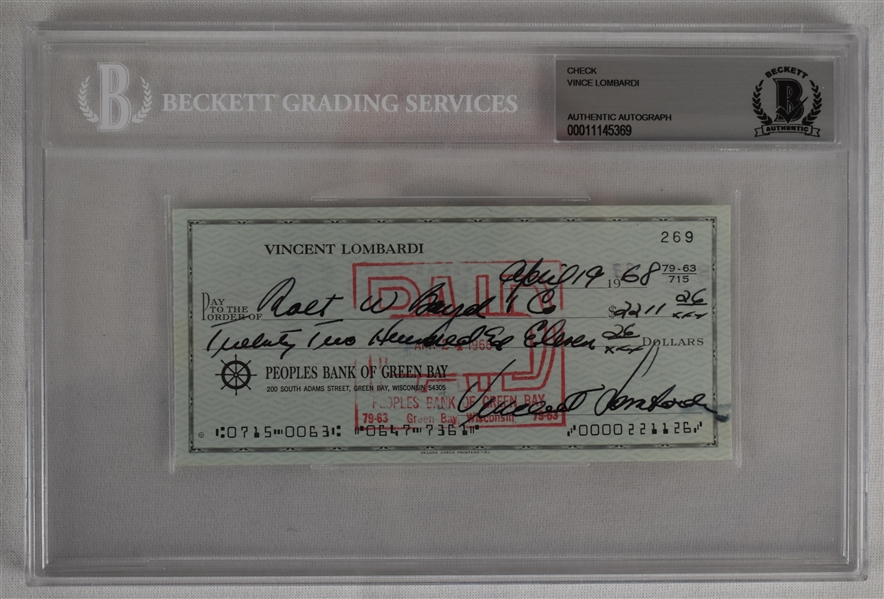 Vince Lombardi Signed 1968 Personal Check #269 BGS Authentic