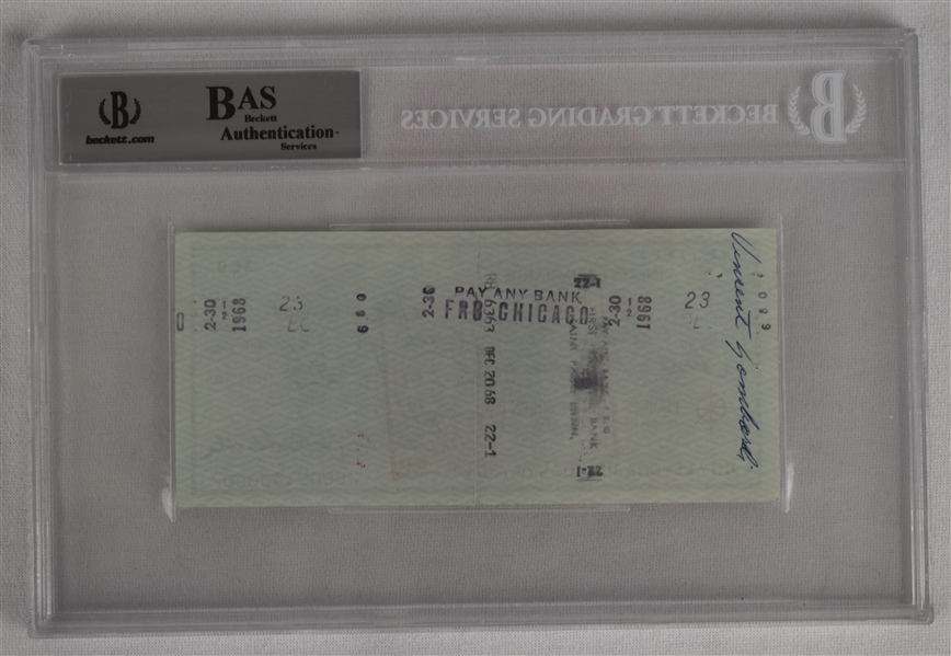 Vince Lombardi Signed 1968 Personal Check #369 BGS Authentic *Twice Signed Vince Lombardi*