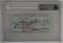 Vince Lombardi Signed 1968 Personal Check #287 BGS Authentic *Twice Signed Lombardi*
