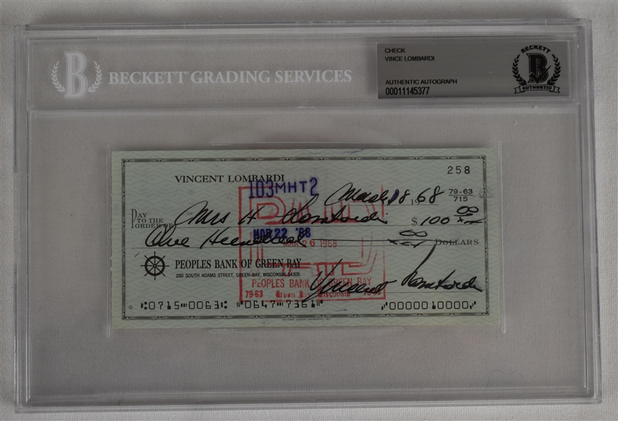 Vince Lombardi Signed 1968 Personal Check #258 BGS Authentic *Twice Signed Lombardi*