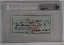 Vince Lombardi Signed 1968 Personal Check #263 BGS Authentic *Twice Signed Lombardi*