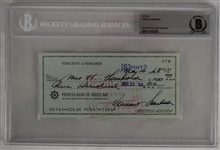 Vince Lombardi Signed 1968 Personal Check #278 BGS Authentic *Twice Signed Lombardi*
