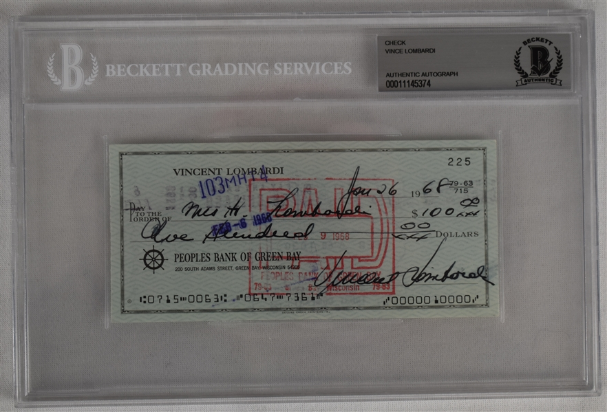 Vince Lombardi Signed 1968 Personal Check #225 BGS Authentic *Twice Signed Lombardi*