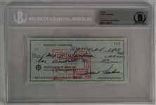 Vince Lombardi Signed 1968 Personal Check #243 BGS Authentic *Twice Signed Lombardi*