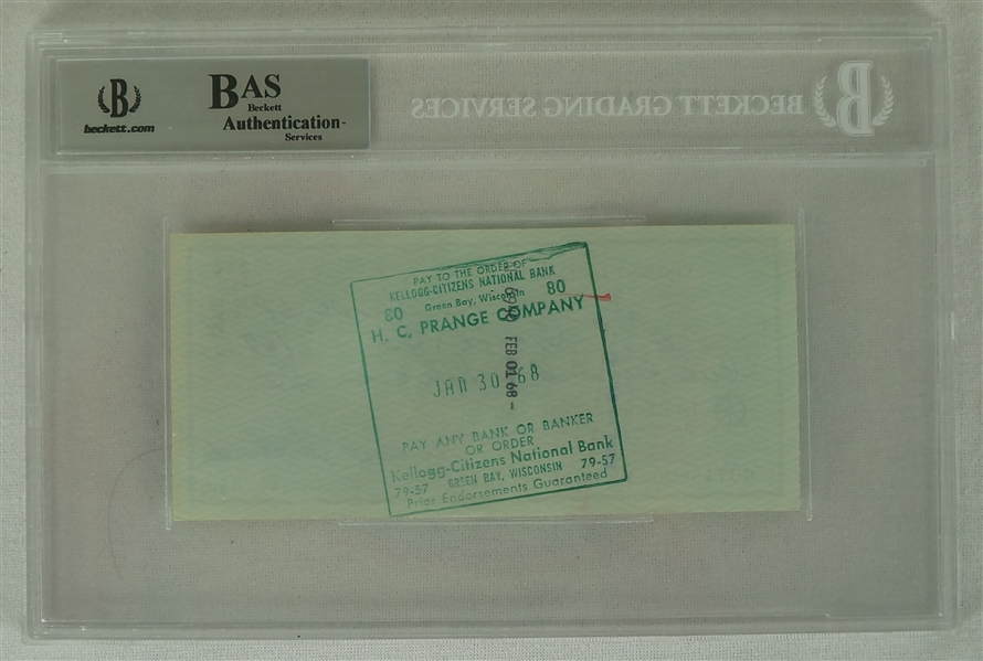 Vince Lombardi Signed 1968 Personal Check #224 BGS Authentic