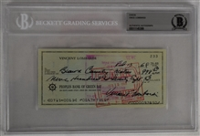 Vince Lombardi Signed 1968 Personal Check #233 BGS Authentic