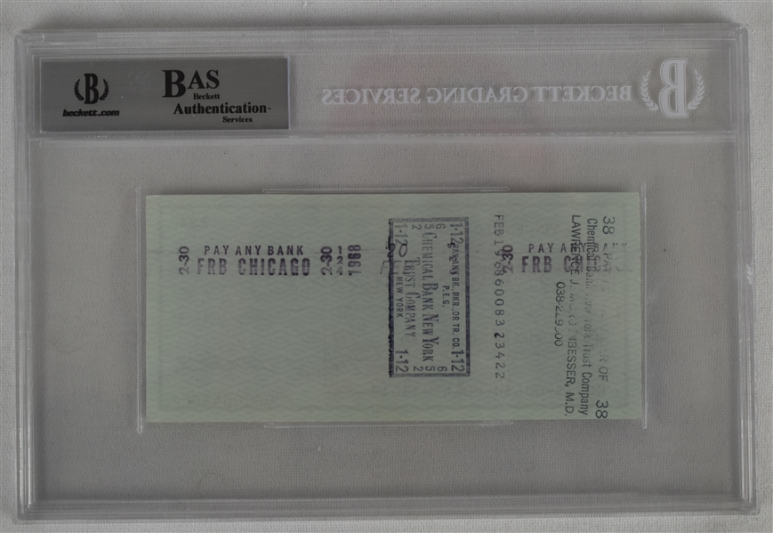 Vince Lombardi Signed 1968 Personal Check #234 BGS Authentic
