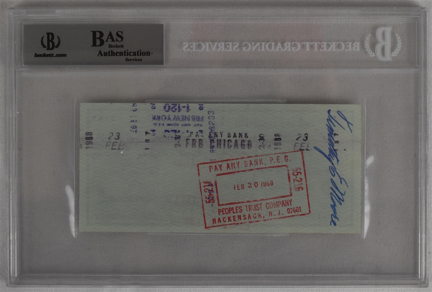 Vince Lombardi Signed 1968 Personal Check #238 BGS Authentic