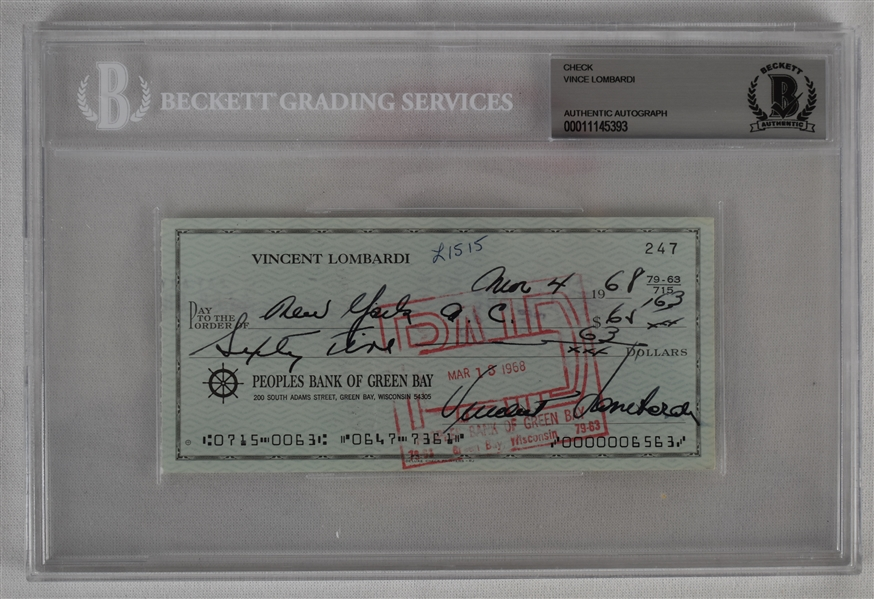Vince Lombardi Signed 1968 Personal Check #247 BGS Authentic