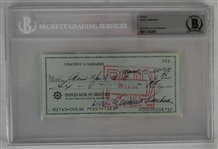 Vince Lombardi Signed 1968 Personal Check #251 BGS Authentic