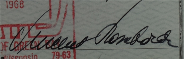 Vince Lombardi Signed 1968 Personal Check #274 BGS Authentic