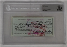 Vince Lombardi Signed 1968 Personal Check #284 BGS Authentic