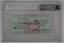 Vince Lombardi Signed 1968 Personal Check #285 BGS Authentic