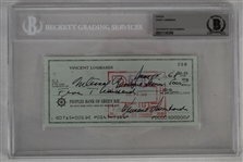 Vince Lombardi Signed 1968 Personal Check #288 BGS Authentic