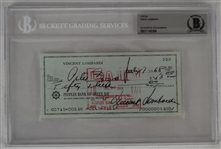 Vince Lombardi Signed 1968 Personal Check #300 BGS Authentic