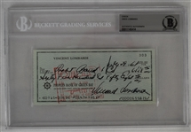 Vince Lombardi Signed 1968 Personal Check #303 BGS Authentic