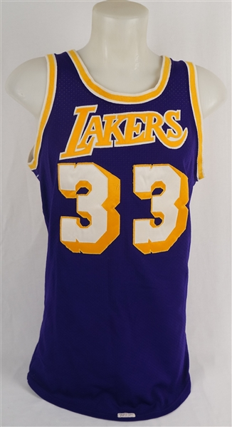 Kareem Abdul-Jabbar 1980-85 Los Angeles Lakers Game Used Jersey w/MEARS A10 & Dave Miedema LOA's