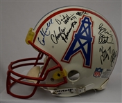 Houston Oilers Team Signed Helmet w/Earl Campbell & Warren Moon