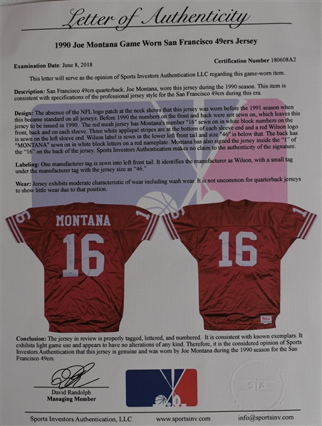 Joe Montana 1990 Game Used & Autographed Jersey w/Sports Investors Authentication LOA & PSA/DNA