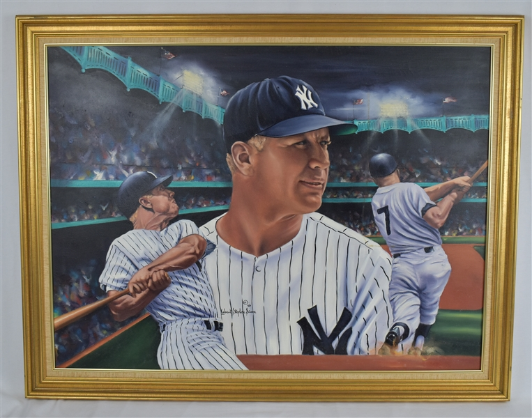 "Mickey Mantle 1986 Original Oil Painting Mickey at Night"" by Robert Stephen Simon"