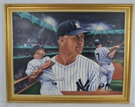 "Mickey Mantle 1986 Original Oil Painting ""Mickey at Night"" by Robert Stephen Simon"