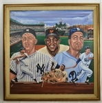 "Mickey Mantle Willie Mays & Duke Snider 1986 Original Oil Painting ""Mickey Willie & The Duke"" by Robert Stephen Simon"