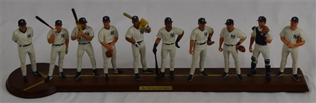 New York Yankee 1998 World Series Champions Starting Line-Up Display w/Wood Base