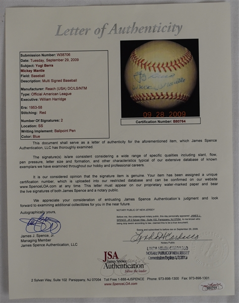 Vintage 1950's Mickey Mantle & Yogi Berra Dual Signed OAL William Harridge Baseball w/Reach Box