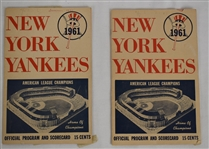 New York Yankees 1961 Lot of 2 Program Scorecard