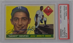 Sandy Koufax Autographed 1955 Topps Rookie Card PSA 10