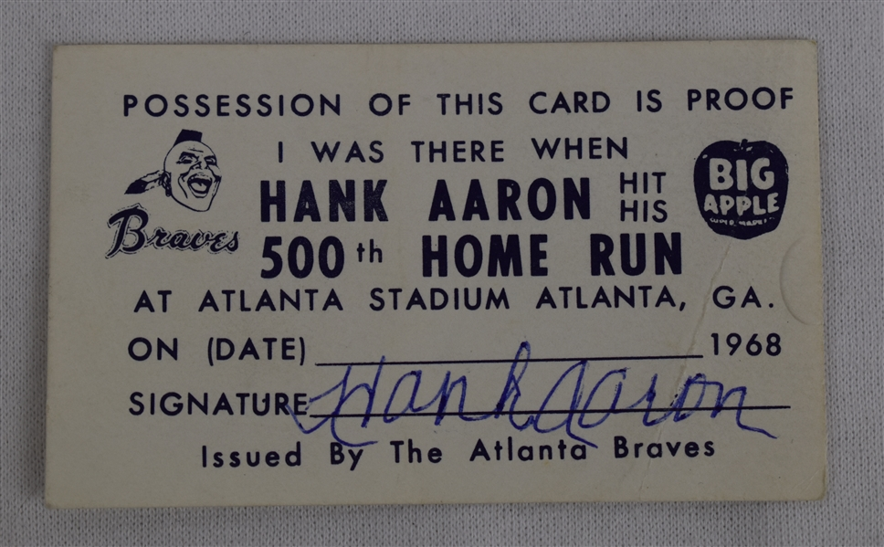 Hank Aaron 1968 I Was There 500th HR Signed Ticket
