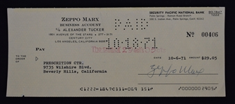 Zeppo Marx 1971 Signed Check