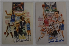 John Wooden Lot of 2 Autographed Cards