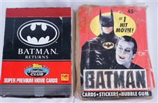 Batman Vintage Lot of 2 Boxes of Unopened Trading Cards w/72 Unopened Packs