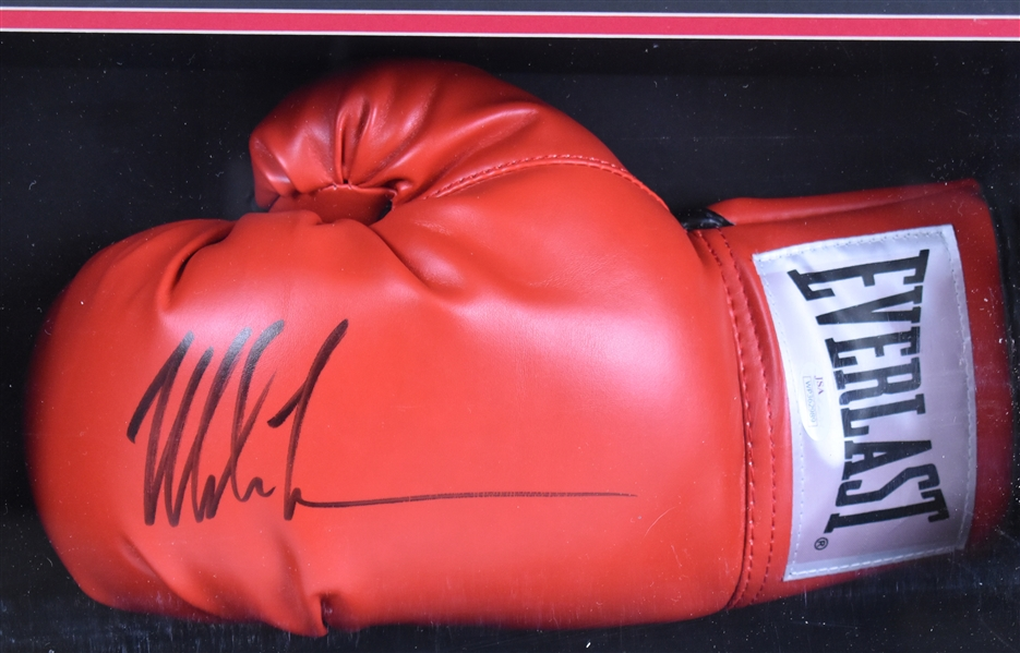 Mike Tyson & Evander Holyfield Autographed Boxing Glove Shadowbox Display