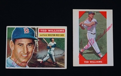 Ted Williams 1956 Topps & 1960 Fleer Autographed Baseball Cards