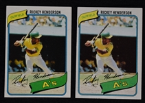Rickey Henderson Lot of 2 Vintage 1980 Topps Rookie Cards