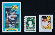 Lou Gehrig 1972 Xographs Mickey Mantle 1961 Topps Stamp & 1969 Topps Decal Cards