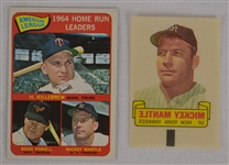 Mickey Mantle 1965 Topps Home Run Leders & 1966 Topps Rub-off Cards