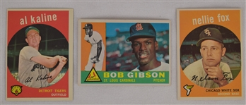 Collection of 3 Vintage 1959 Topps Cards w/Al Kaline & Bob Gibson