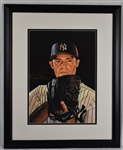 Mariano Rivera Original James Fiorentino Watercolor Painting w/Rivera Autograph