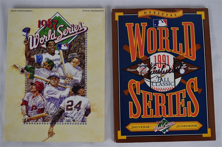 Kirby Puckett Autographed 1991 World Series Programs & 1987 WS Program