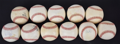 Collection of 11 Game Used & Autographed Baseballs w/Albert Pujols