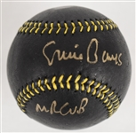 Ernie Banks Autographed Limited Edition Black Baseball