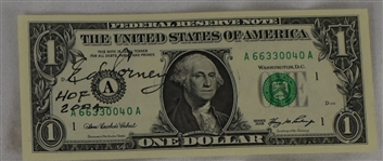 Ed Corney HOF 2004 Autographed & Inscribed Dollar Bill