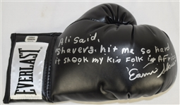 Ernie Shavers Autographed & Inscribed Black Boxing Glove